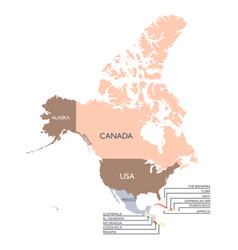 map of north america continent vector image vector image