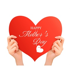 Mother day background Two hands holding red heart vector image vector image