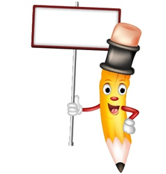 cute yellow pencil cartoon with blank sign vector image