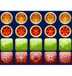 glossy icons with fancy patterns vector image vector image