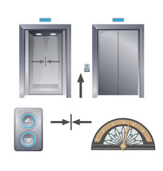 modern metal elevator with buttons and decorative vector image vector image