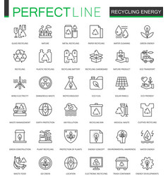 recycling energy thin line web icons set vector image