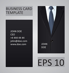 Suit business card template vector image vector image