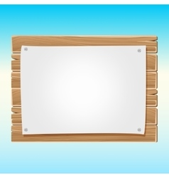 Wooden blank sign board with paper blue sky vector image