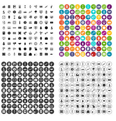100 problem solving icons set variant vector