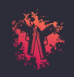 2 pistols on red splash two guns t-shirt print vector image