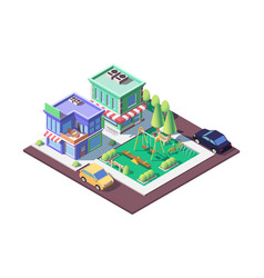 3d isometric square ground playground near shop vector image