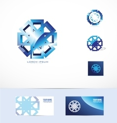 Abstract blue metal flower logo icon vector