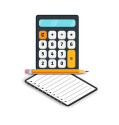Accounting flat icons calculator with notebook vector