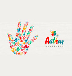 Autism awareness day colorful kid hand together vector