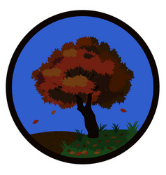 autumn tree with falling leaves in the hills in vector image