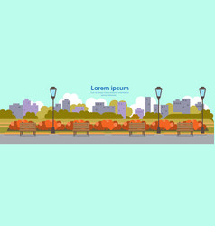Autumn urban yellow park outdoors street lamp vector