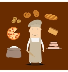 Baker man with pastry and bakery vector