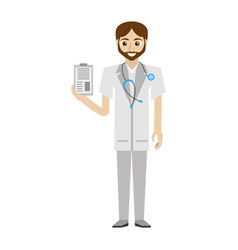 beard doctor stethoscope and clip vector image