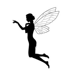 beautiful girl fairy silhouette in profile vector image