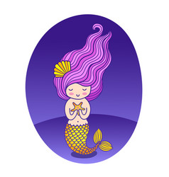 Beautiful mermaid with long purple wavy hair and vector