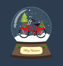 Bicycle with christmas tree in snow ball vector