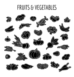 Black line fruit and vegetables icon vector image