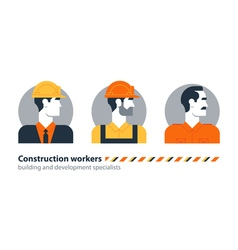 Builder man side view construction worker labor vector