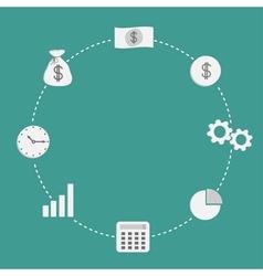 Business icon set Dash line circleempty Money vector image
