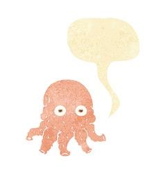 Cartoon alien squid face with speech bubble vector