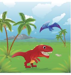Cartoon dinosaurs scene vector