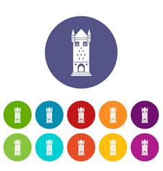 castle tower icons set color vector image