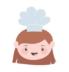 chef brunette girl face with hat cartoon character vector image
