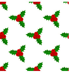 christmas holly seamless pattern vector image