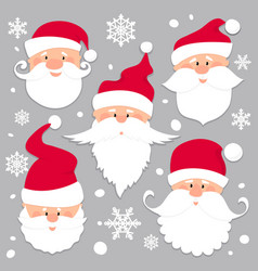 Christmas santa claus faces in red caps old men vector