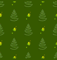 christmas seamless tree made garland with lamps vector image