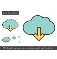 Cloud download line icon vector