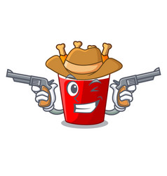 Cowboy character bucket chicken fried fast food vector