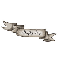 Decorative card with kraft ribbon happy day vector