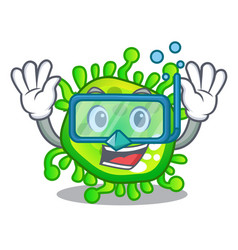 diving cartoon microba virus bacteria in body vector image