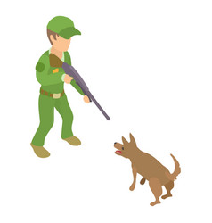 dog catcher character icon isometric 3d style vector image