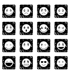 Emoticon set icons grunge style vector