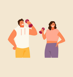 Fitness man and woman vector
