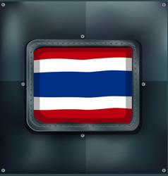 Flag of thailand on metalic background vector