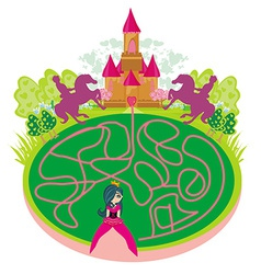 Funny maze game - princess looking for a way to vector image