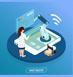 futuristic industry isometric concept vector image