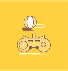 game gaming internet multiplayer online flat line vector image
