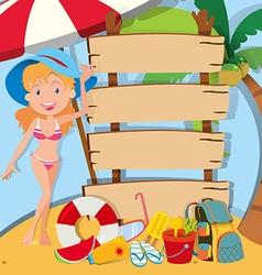 girl in bikini standing signs vector image