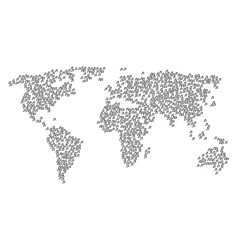 Global map collage of music notes icons vector