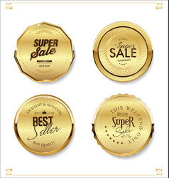 golden retro sale badges and labels collection 2 vector image