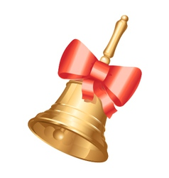 Golden school bell with red bow vector image