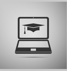 graduation cap and laptop online learning concept vector image