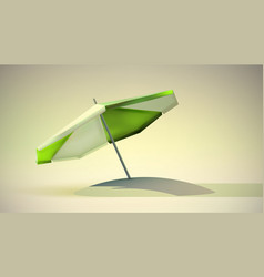 Green and white beach umbrella vector