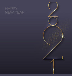 Greeting card with golden 2021 new year logo vector