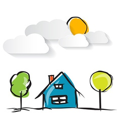 Hand Drawn House with Paper Clouds and Trees vector image